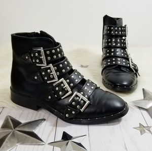 Mossimo studded black ankle boots faux leather 7.5